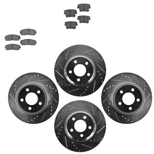 Front & Rear Performance Rotor & Ceramic Pad Kit 05-10 300 09-13 Challenger