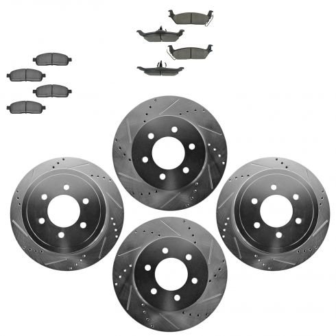 Front & Rear Performance Rotor & Ceramic Pad Kit 04-08 Ford F150
