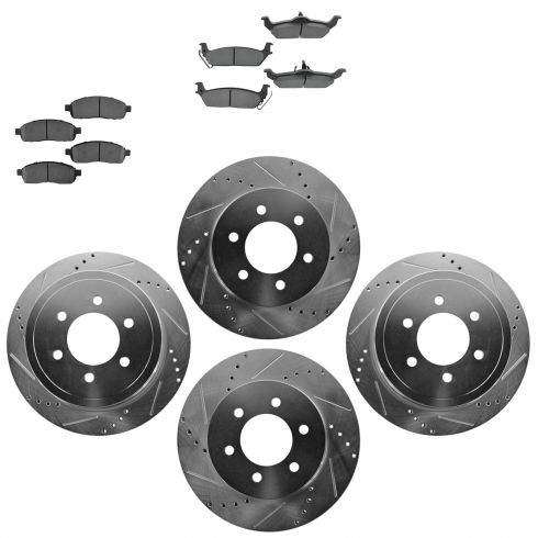 Front & Rear Performance Rotor & Metallic Pad Kit 04-08 Ford F150