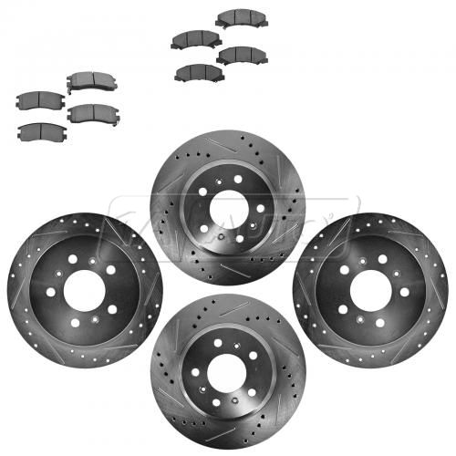 Front & Rear Performance Rotor & Metallic Pad Kit 06-10Impala Lucerne Monte