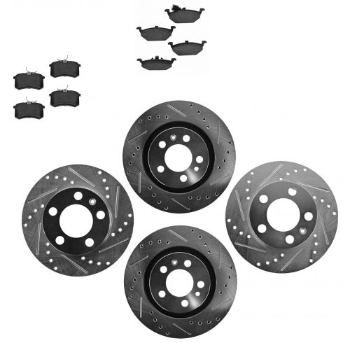 Front & Rear Performance Rotor & Ceramic Pad Kit 99-10 VW Beetle Jetta Golf