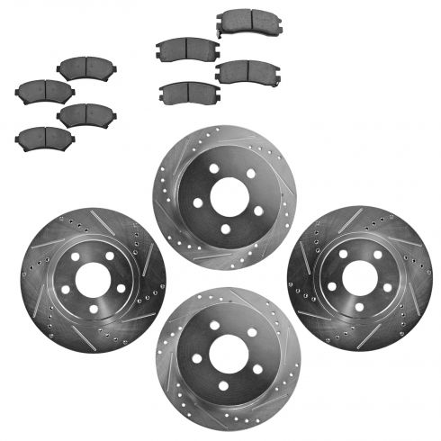Front & Rear Performance Rotor & Ceramic Pad Kit 00-05 Chevy Impala