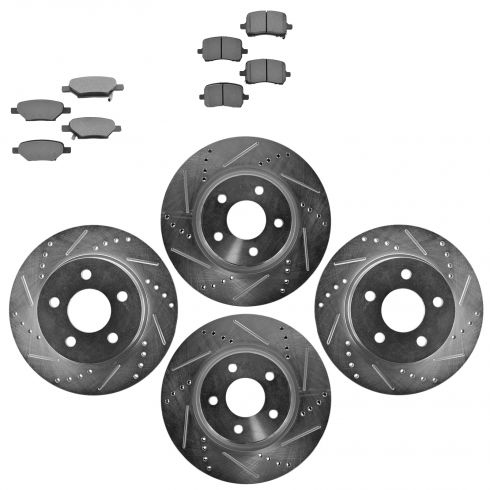 Front & Rear Performance Rotor & Metallic Pad Kit 04-09 Gm Fwd