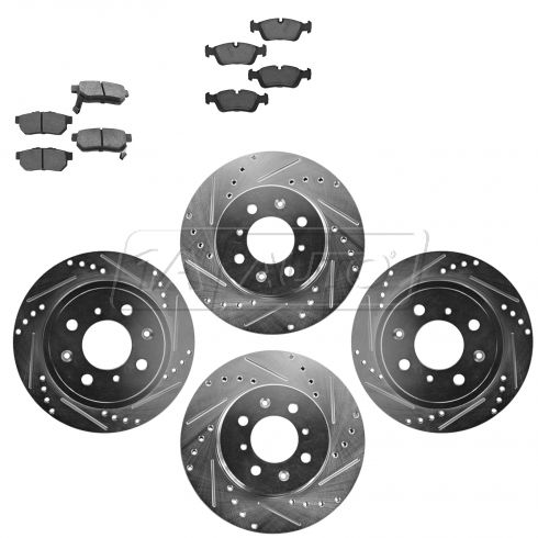 Front & Rear Performance Rotor & Metallic Pad Kit 94-01Intergra 94-95 Civic