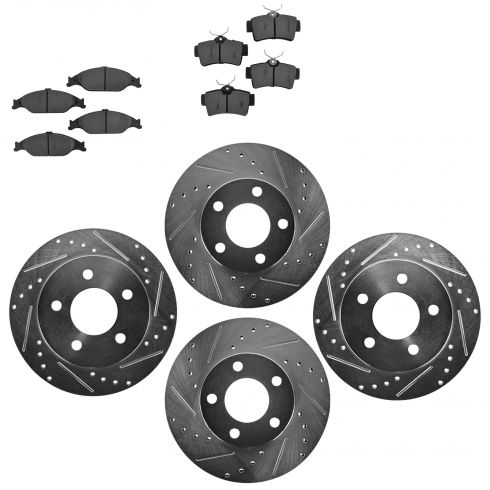 Front & Rear Performance Rotor & Metallic Pad Kit 99-04 Mustang