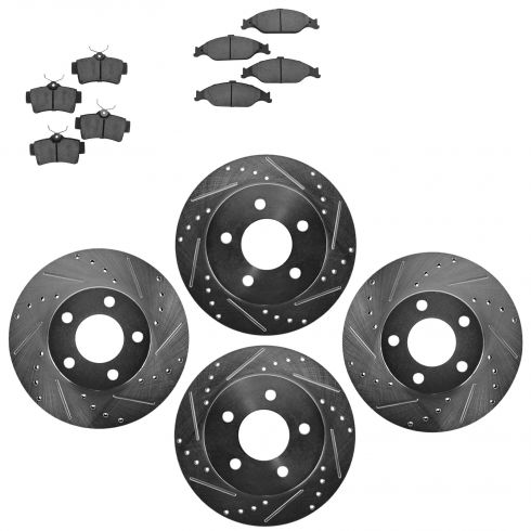 Front & Rear Performance Rotor & Ceramic Pad Kit 99-04 Mustang