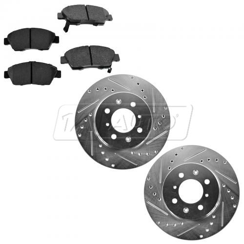 94-97 Civic Del Sol; 07-13 Performance Disc Brake Rotor Front Pair & Premium Posi Ceramic Pads