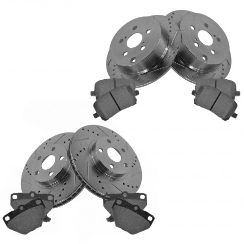 03-08 Vibe; 00-05 Celica; 03-08 Corolla Front & Rear Performance Brake Rotor & Ceramic Pad Kit