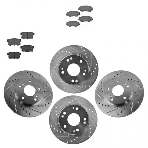 03-07 Honda Accord 2.4L Front & Rear Performance Brake Rotor & Ceramic Pad Kit