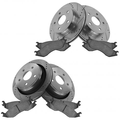 02-05 Dodge Ram 1500; 04-06 Durnago Front & Rear Performance Disc Brake Rotor w/ Ceramic Pads