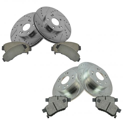 08-10 Honda Accord; 09-10 Acura TSX Front & Rear Performance Disc Brake Rotor w/ Ceramic Pads