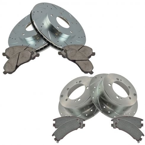 01-05 Sebring; 01-05 Stratus; 02-03 Galant Front & Rear Ceramic Brake Pad & Performance Rotor Kit
