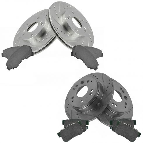 03-11 Honda Element Front & Rear Performance Brake Rotor & Pad Kit