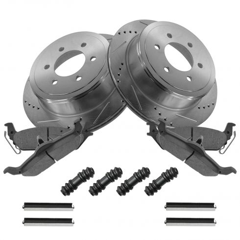 Rotor & Brake Pad Posi Ceramic Performance Drilled Slotted Rear Kit w/hardware for Ford