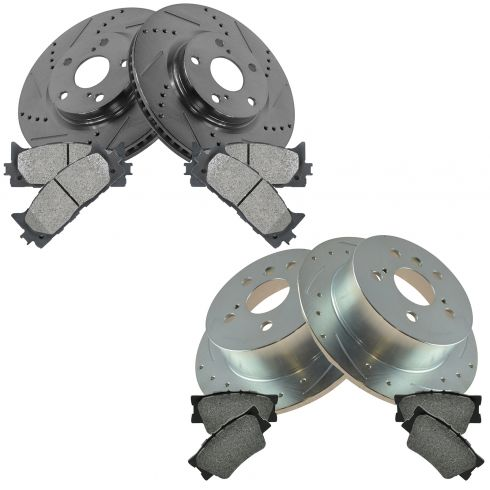 2012-14 Toyota Camry; 13-14 Avalon Front & Rear Performance Brake Rotor & Semi-Metallic Pad Kit