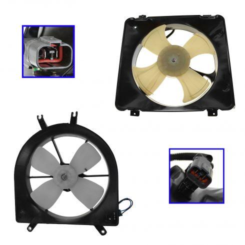 99-00 Honda Civic Radiator & AC Cooling Fan Assembly PAIR