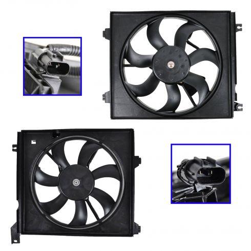 04 Kia Spectra 2.0L, 05-09 Spectra Radiator & AC Condenser Fan PAIR