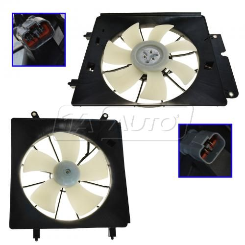 2003-06 Honda Element Radiator & AC Condenser Fan PAIR