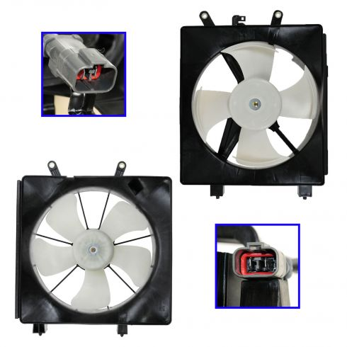 01-05 Honda Civic Radiator & AC Condenser Fan PAIR