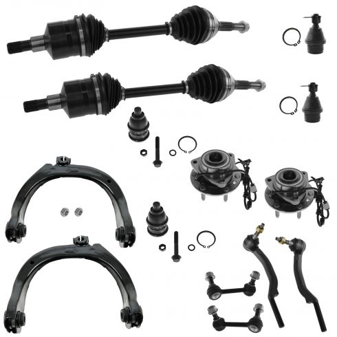 03-08 Trailblazer, Envoy Bravada Hub Axle Steering & Suspension Kit (Set of 14)