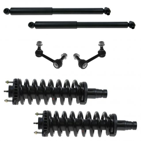 02-09 GM Mid Size SUV; 05-09 Saab 9-7X Front Shock & Spring, Front Sway Bar Link, & Rear Shock Set