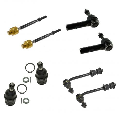 07-09 Chrysler Aspen; 04-09 Dodge Durango Front Lwr Bjnts w/Tie Rods & Sway Bar Link Kit (Set of 8