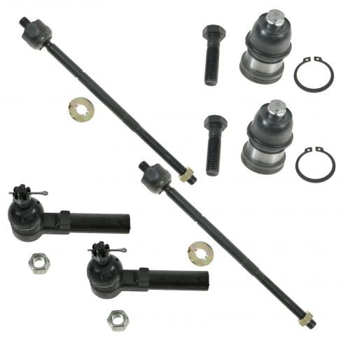 96-00 Dodge Chrysler Plymouth Minivan Front Inner & Outer Tie Rod End w/ Lower Ball Joint Kit