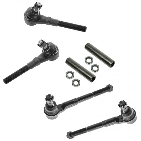 97-04 Ford F150 F250 Expedition; 98-02 Navigator w/2WD Front Inner Outer Tie Rods w Sleeves Kit 6pc