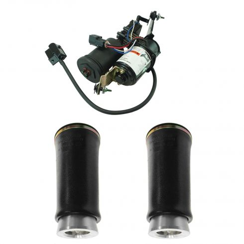 98-02 Lincoln Towncar Air Ride Suspension Rear HD Air Spring Pair & Compressor w/Dryer