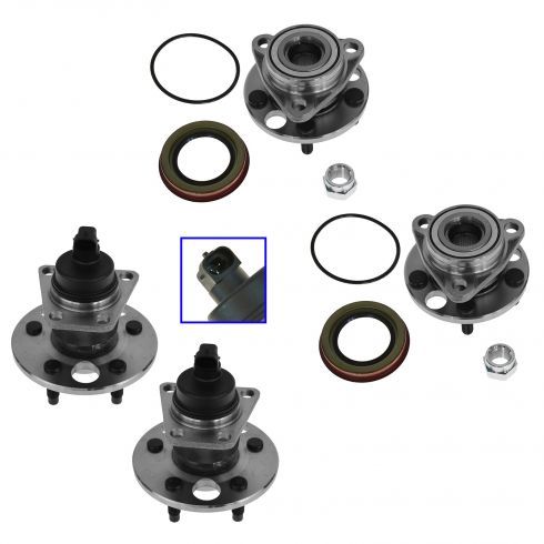Buick, Chevy, Olds, Pontiac Multifit Front & Rear Wheel Hub & Bearing Assemblies (Set of 4)