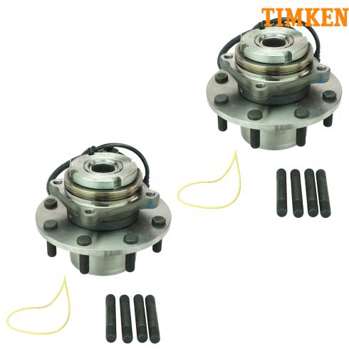 99 Ford Super Duty Truck DRW 4WD 4Whl ABS Front Wheel Bearing & Hub Assy PAIR (Timken)