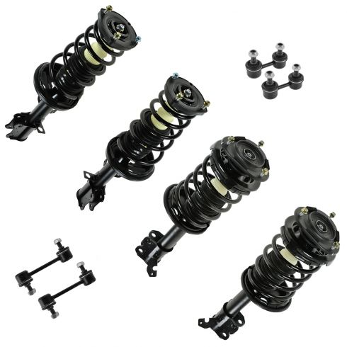 93-02 Corolla, Prizm Front & Rear Loaded Strut and Sway Bar Link Kit (Set of 8)