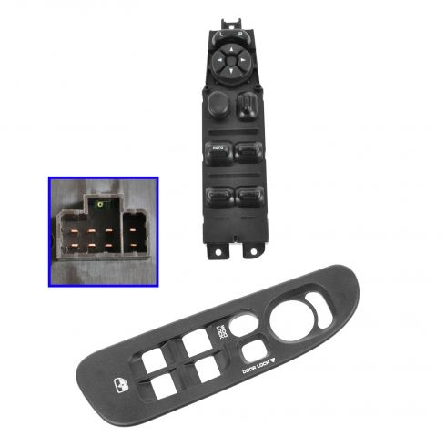 02-05 Dodge Ram 1500; 03-05 Ram 2500, 3500 Master Power Window Switch & Dark Gray Bezel Kit LF