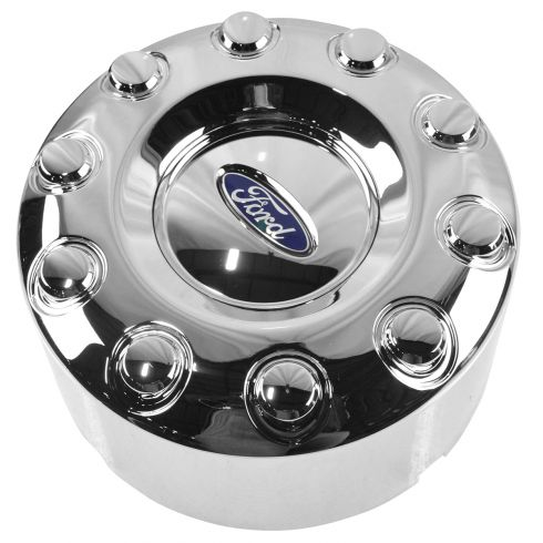 05-12 Ford F450SD, F550SD (w/19.5 Inch Whl) ~Ford~ Logoed Rear Wheel Chrme Hubcap Cover LR = RR (FD)
