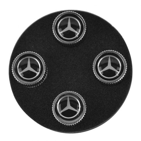 Mercedes Benz Multifit Black w/Silver Star Tire Valve Stem Cap (Set of 4) (Mercedes Benz)