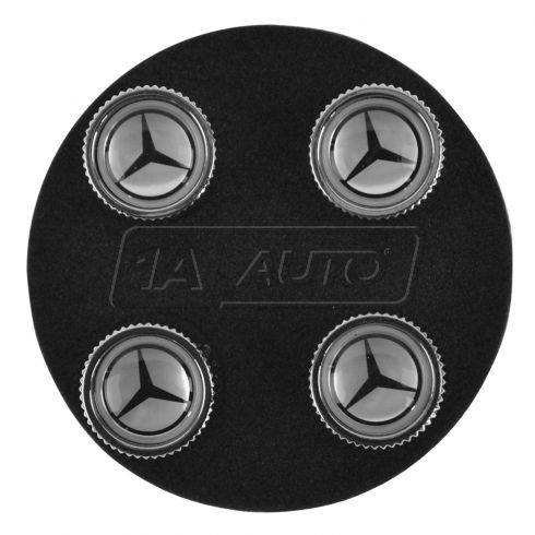 Mercedes Benz Multifit Silver w/Black Star Tire Valve Stem Cap (Set of 4) (Mercedes Benz)