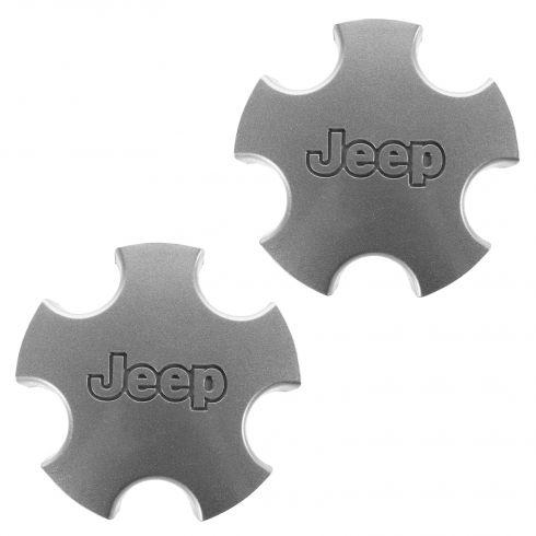 01-04 Jeep Grand Cherokee (w/Wheel Codes WFZ, WGF) Flat 5 Inch Silver Center Cap PAIR (Mopar)