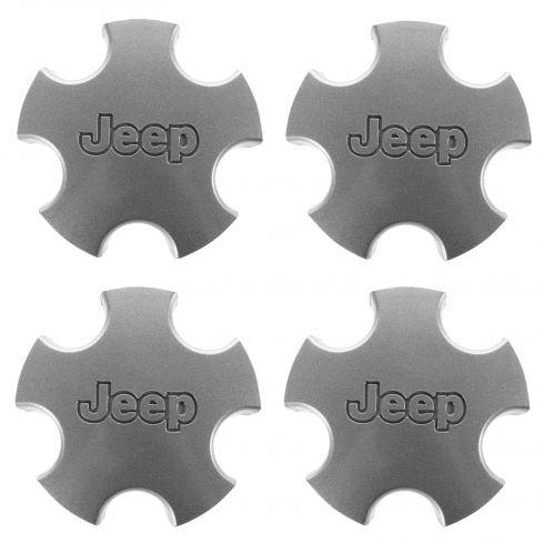 01-04 Jeep Grand Cherokee (w/Wheel Codes WFZ, WGF) Flat 5 Inch Silver Center Cap SET of 4 (Mopar)