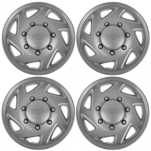 97-14 Ford Van E150, E250, E350, E450 (7 Angled Spoke) Silver Hub Cap Kit (Set of 4) (FORD)