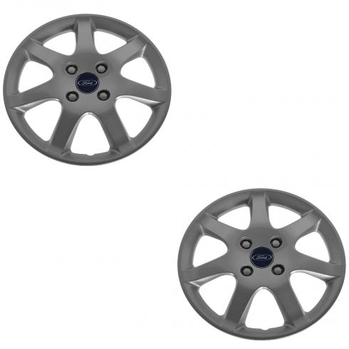 05-06 Ford Focus Painted Silver, 7 Spoke, 15 Inch Hub Cap Pair  (Ford)