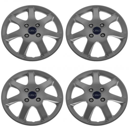 05-06 Ford Focus Painted Silver, 7 Spoke, 15 Inch Hub Cap Set (Ford)