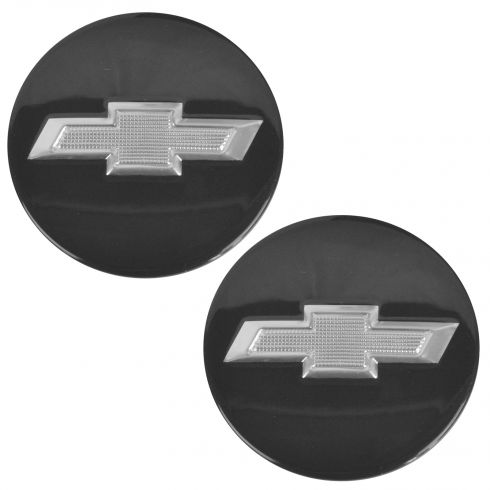 13 Camaro Conv; 10-15 Camaro Cpe; 12-15 Volt Black w/Silver ~Bowtie~ Logo Wheel Center Cap Pair (GM)
