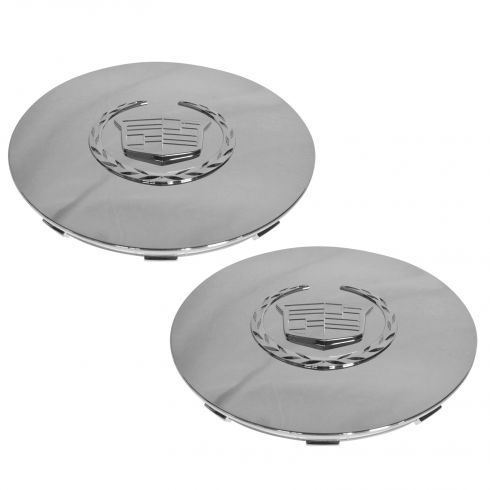 03-06 Cadillac Escalade, EXT, ESV (w/17 or 20 Inch Wheel) ~Crest~ Logo Chrome Center Cap Pair (GM)