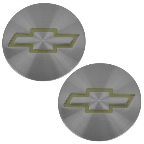 95-05 S10 Blzr; 95-04 S10 w/4WD Gold ~Bowtie~ Logo Brushed Aluminum Center Cap Pair (GM)