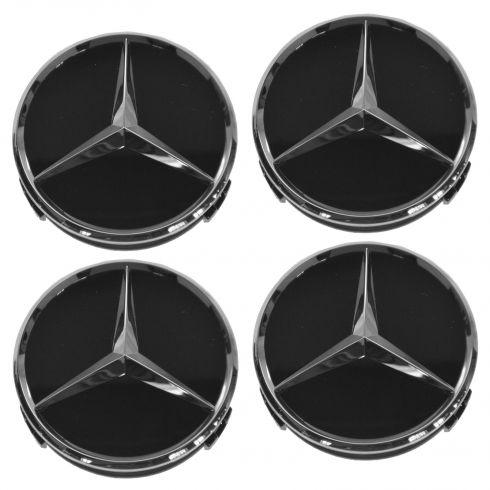 90-15 Mercedes Benz C CL CLA CLS E G ML GL Raised Chrome/Black Center Cap Set of 4 (MB)