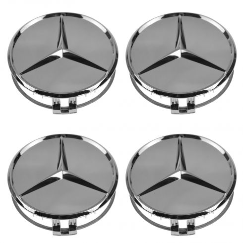 90-14 MB C CL CLA CLS E G ML GL GLK S SL SLK Chrome w/Raised Chrome Star Wheel Center Cap Set /4(MB)
