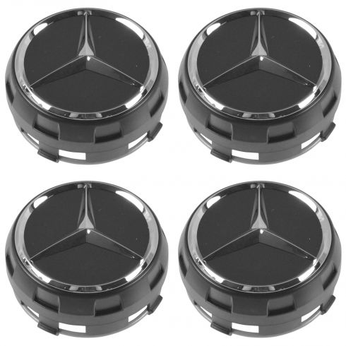 90-15 Mercedes Bz C CL CLA CLS E G ML GL GLK S SL SLK Class Chrme/Black Center Cap Set of 4 (MB)