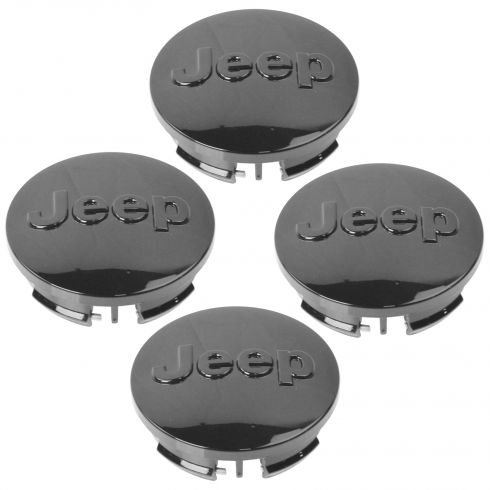 07-15 Cmpss, Patrt; 11-15 Gr Cher, Wrglr (17-20 In Whl) Black Jeep Logoed Center Cap Set of 4(MP)