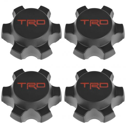 07-14 FJ Cruiser; 01-15 Tacoma w/16 In TRD Whl Blk & Red ~TRD~ Lg'd Whl Center Cap Set of 4 (Toyota)