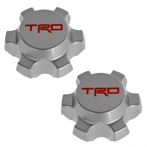 07-14 FJ Cruiser; 01-14 Tacoma (w/16, 6 Spoke Alloy Whl) Silver & Red ~TRD~ Ctr Cap Pair (Toyota)